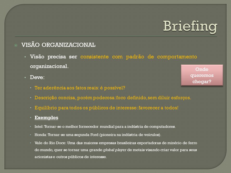 Briefing Visão organizacional