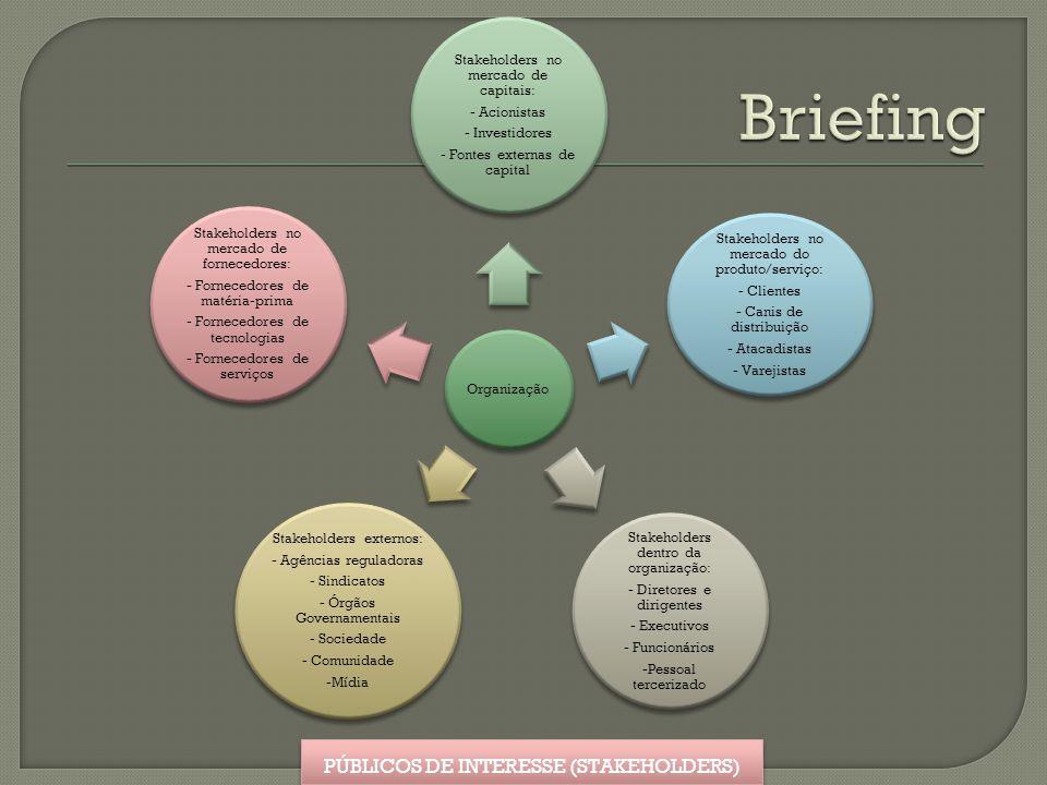 Briefing PÚBLICOS DE INTERESSE (STAKEHOLDERS) Organização