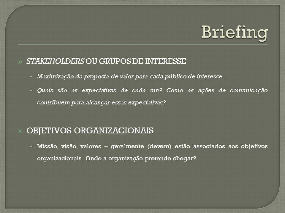 Briefing OBJETIVOS ORGANIZACIONAIS STAKEHOLDERS OU GRUPOS DE INTERESSE