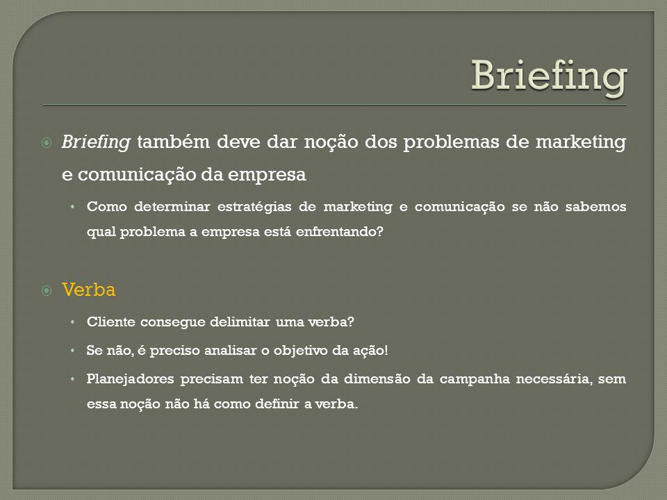 Briefing Briefing também deve dar noção dos problemas de marketing e comunicação da empresa.