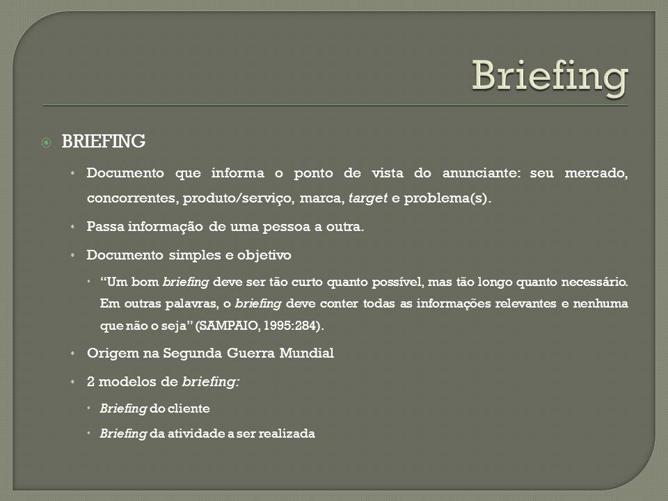 Briefing Briefing. Documento que informa o ponto de vista do anunciante: seu mercado, concorrentes, produto/serviço, marca, target e problema(s).