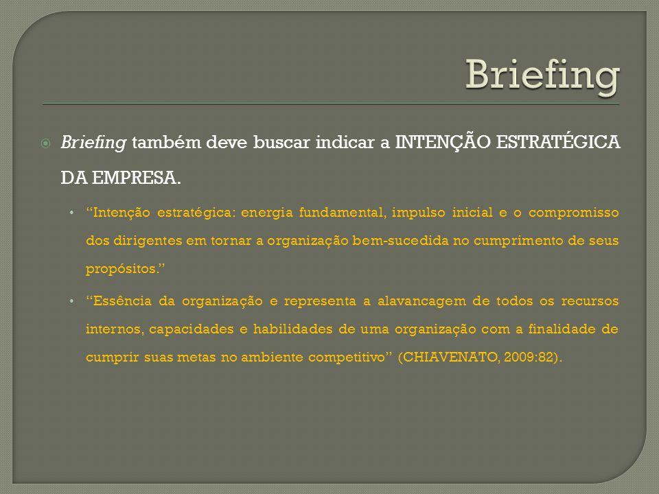 Briefing Briefing também deve buscar indicar a INTENÇÃO ESTRATÉGICA DA EMPRESA.