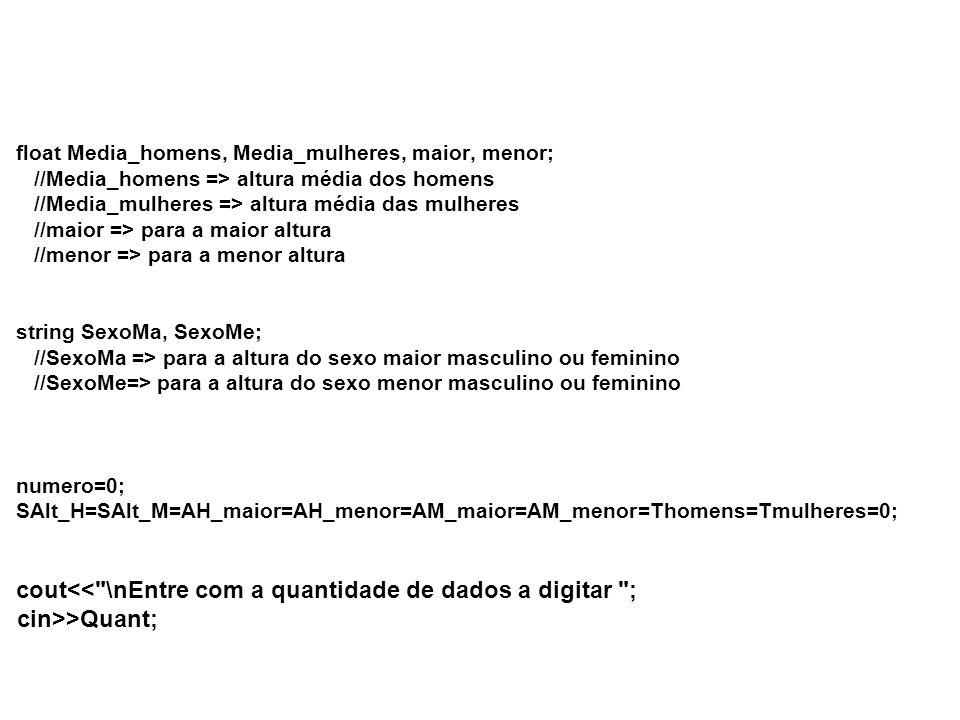 float Media_homens, Media_mulheres, maior, menor; //Media_homens => altura média dos homens //Media_mulheres => altura média das mulheres //maior => para a maior altura //menor => para a menor altura string SexoMa, SexoMe; //SexoMa => para a altura do sexo maior masculino ou feminino //SexoMe=> para a altura do sexo menor masculino ou feminino numero=0; SAlt_H=SAlt_M=AH_maior=AH_menor=AM_maior=AM_menor=Thomens=Tmulheres=0; cout<< \nEntre com a quantidade de dados a digitar ; cin>>Quant;
