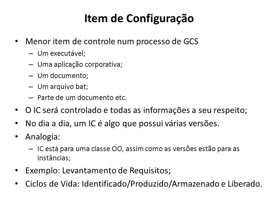 Item de Configuração Menor item de controle num processo de GCS