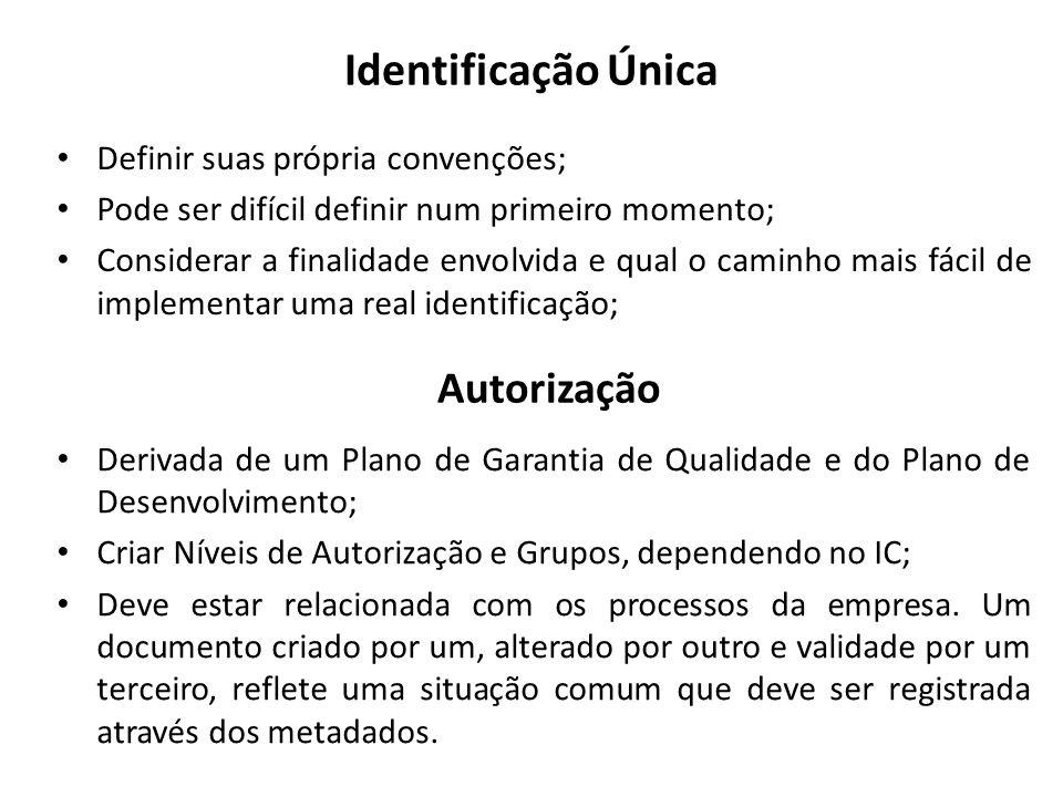 Identificação Única Autorização Definir suas própria convenções;