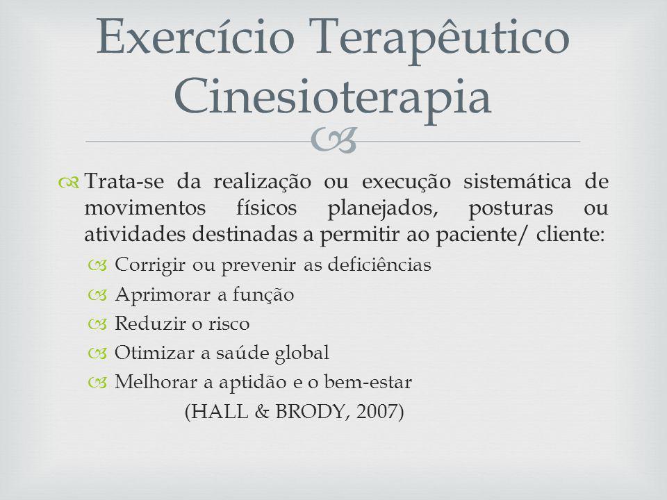 Exercício Terapêutico Cinesioterapia