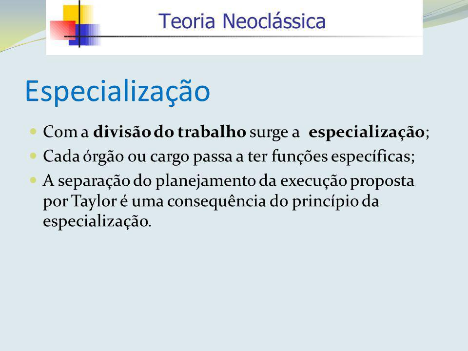 Especialização Com a divisão do trabalho surge a especialização;