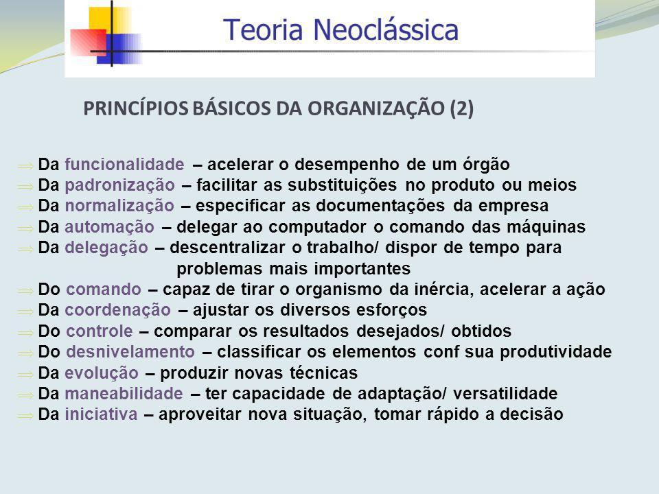 PRINCÍPIOS BÁSICOS DA ORGANIZAÇÃO (2)