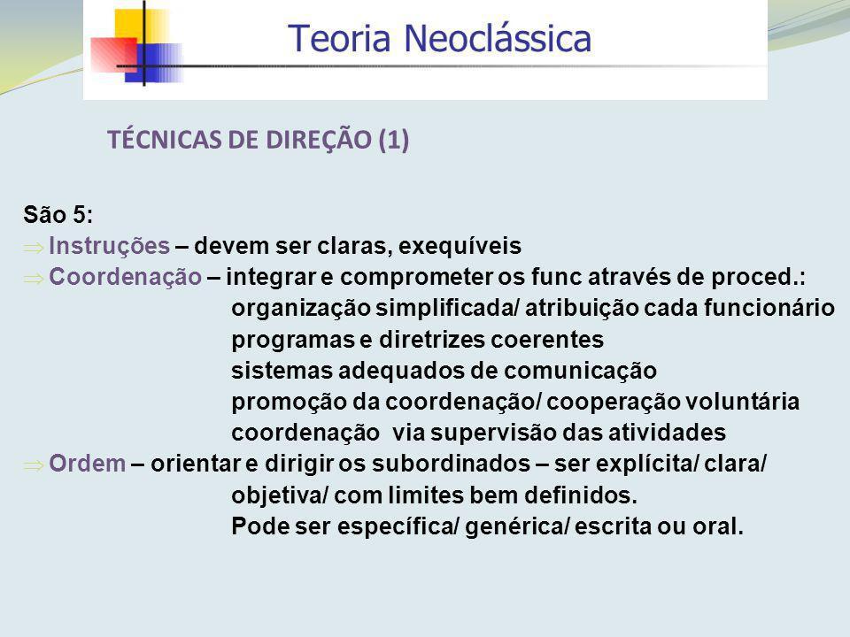 TÉCNICAS DE DIREÇÃO (1) São 5: