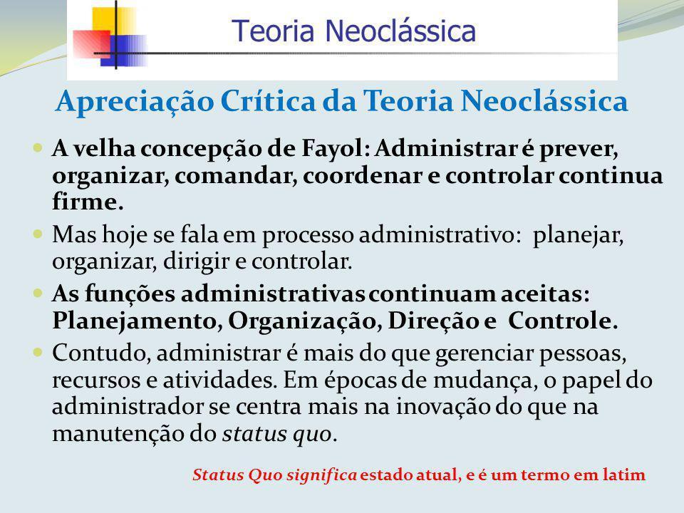 Apreciação Crítica da Teoria Neoclássica