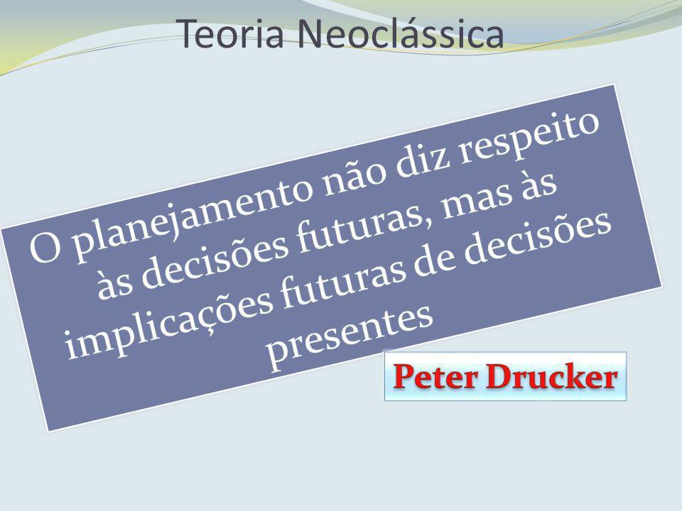Teoria Neoclássica O planejamento não diz respeito às decisões futuras, mas às implicações futuras de decisões presentes.