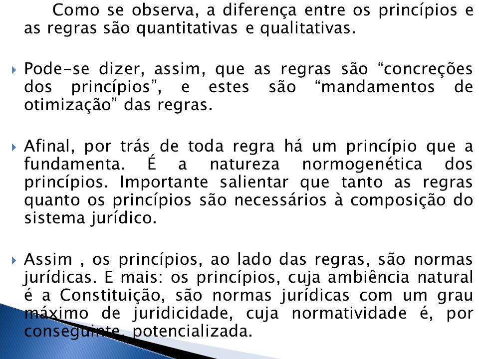 Como se observa, a diferença entre os princípios e as regras são quantitativas e qualitativas.