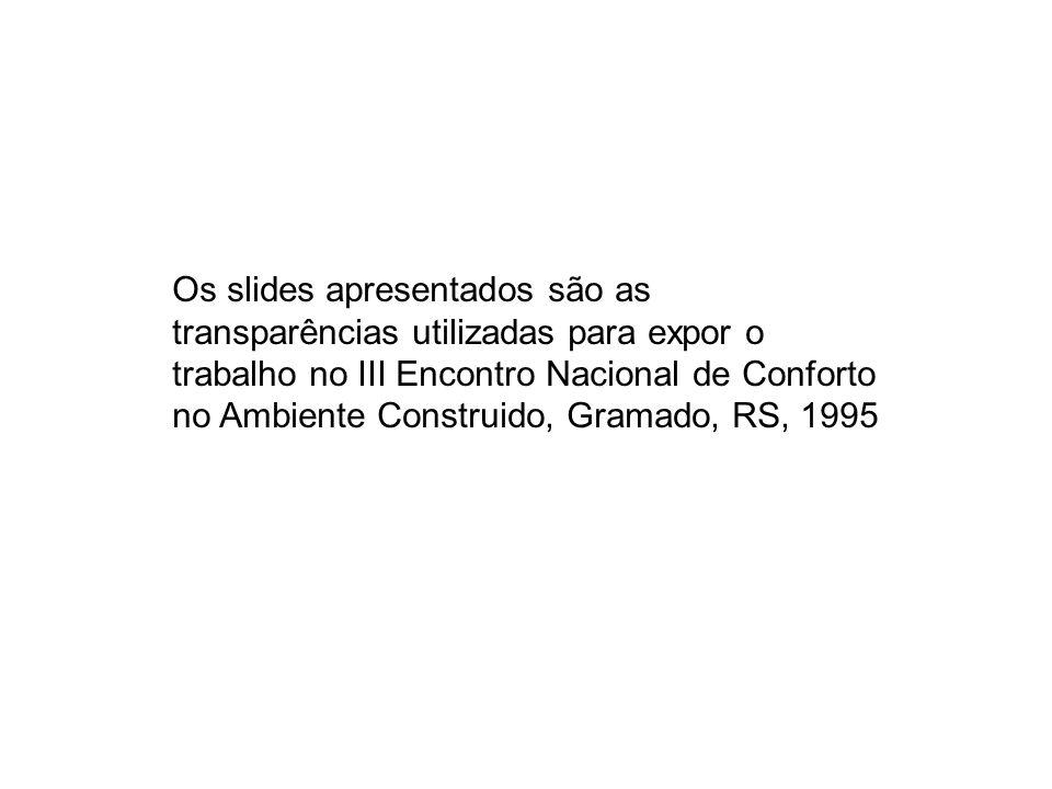 Os slides apresentados são as transparências utilizadas para expor o trabalho no III Encontro Nacional de Conforto no Ambiente Construido, Gramado, RS, 1995