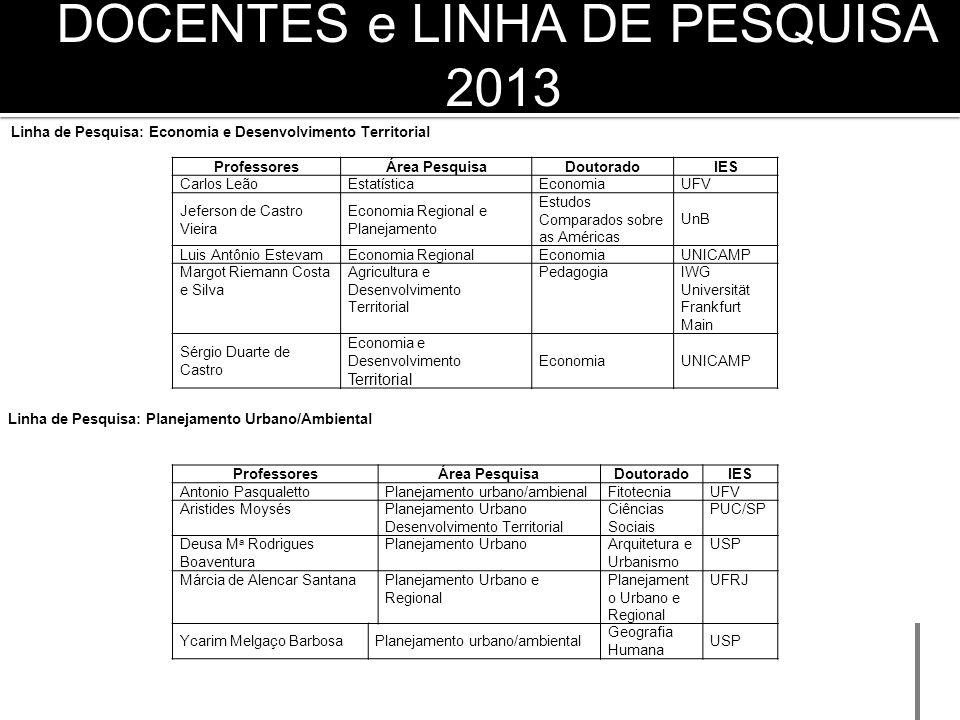DOCENTES e LINHA DE PESQUISA 2013
