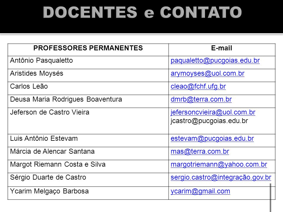 PROFESSORES PERMANENTES