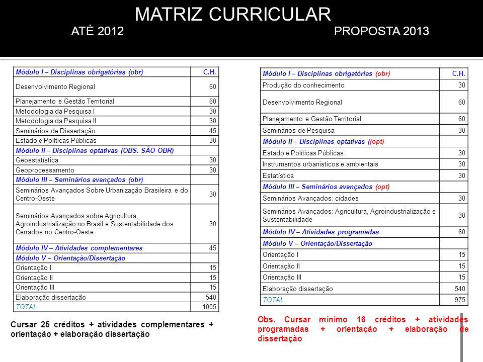 MATRIZ CURRICULAR ATÉ 2012 PROPOSTA 2013