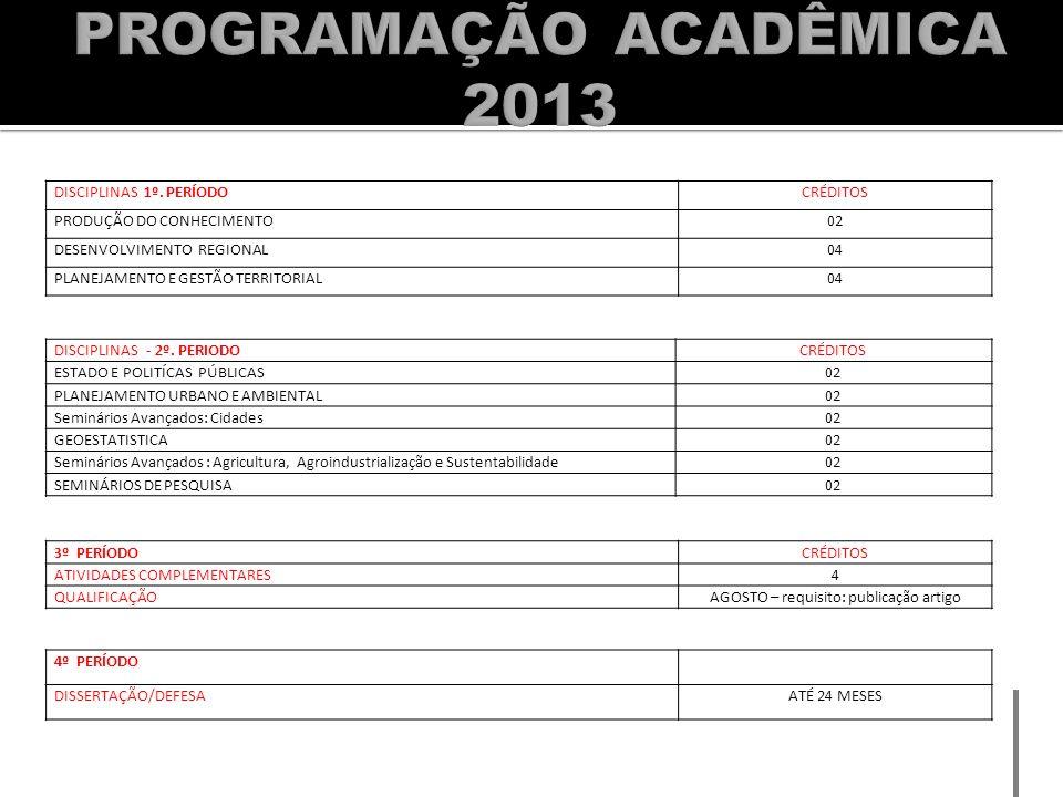 PROGRAMAÇÃO ACADÊMICA 2013