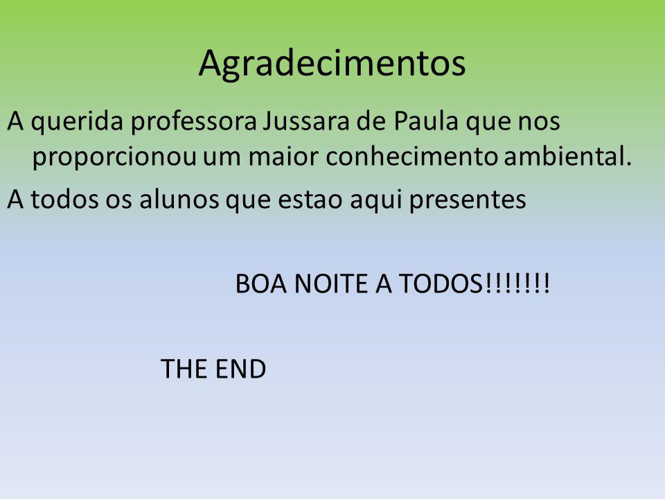 Agradecimentos A querida professora Jussara de Paula que nos proporcionou um maior conhecimento ambiental.