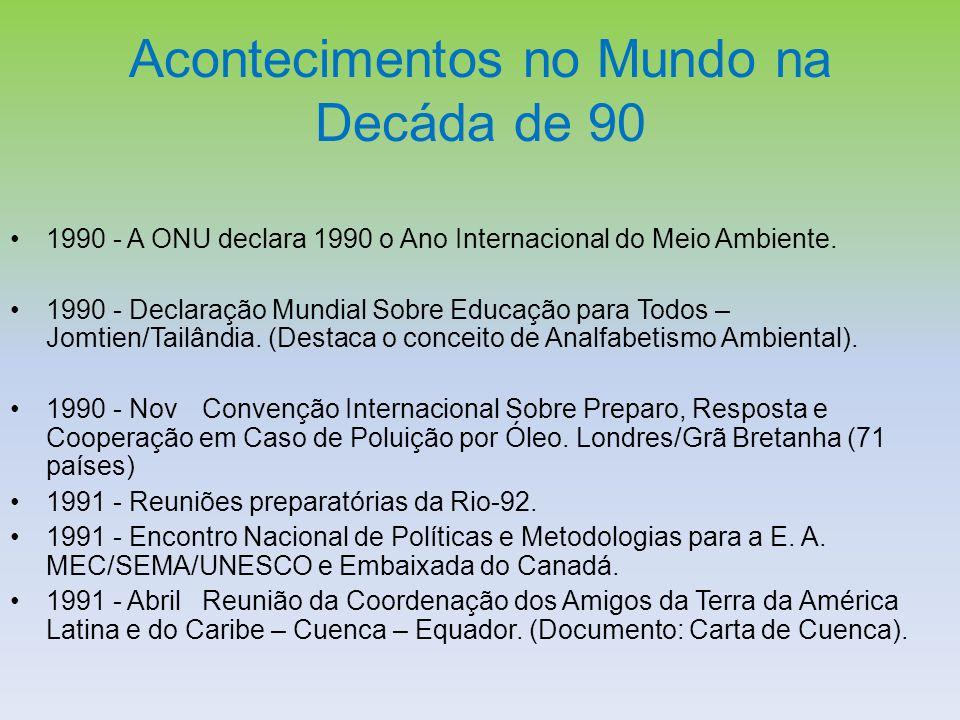 Acontecimentos no Mundo na Decáda de 90