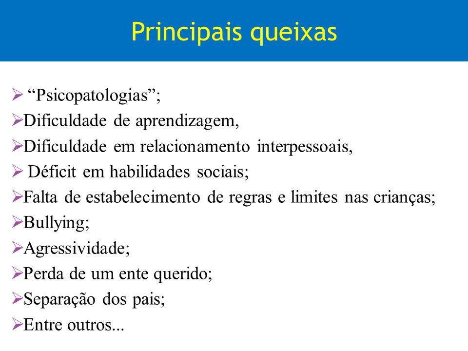 Principais queixas Psicopatologias ; Dificuldade de aprendizagem,