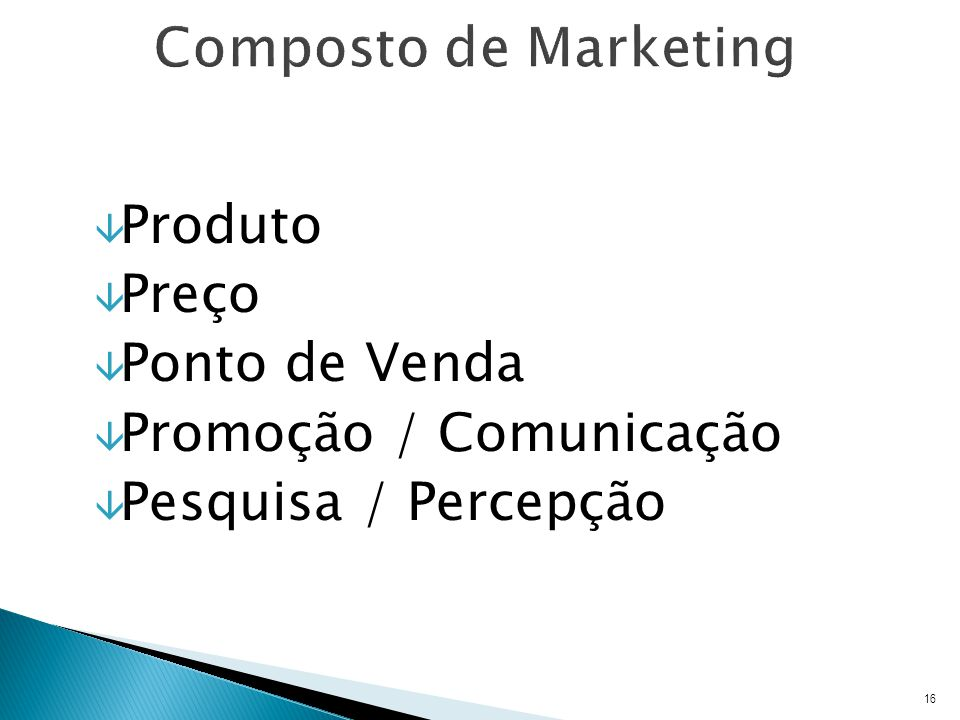 Composto de Marketing Produto Preço Ponto de Venda