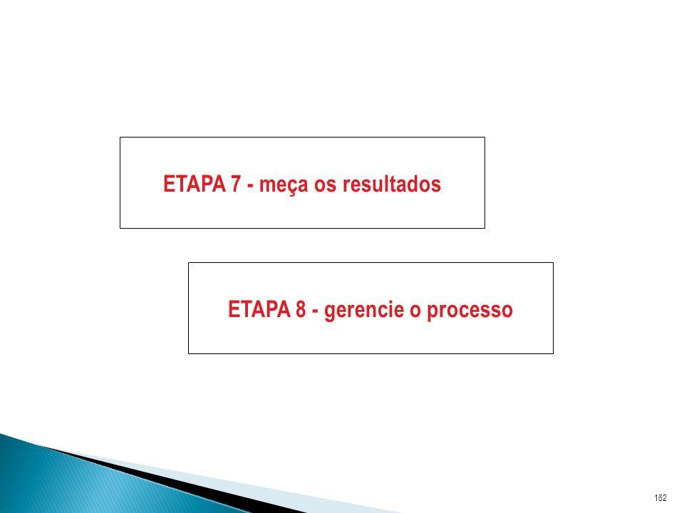 ETAPA 7 - meça os resultados ETAPA 8 - gerencie o processo