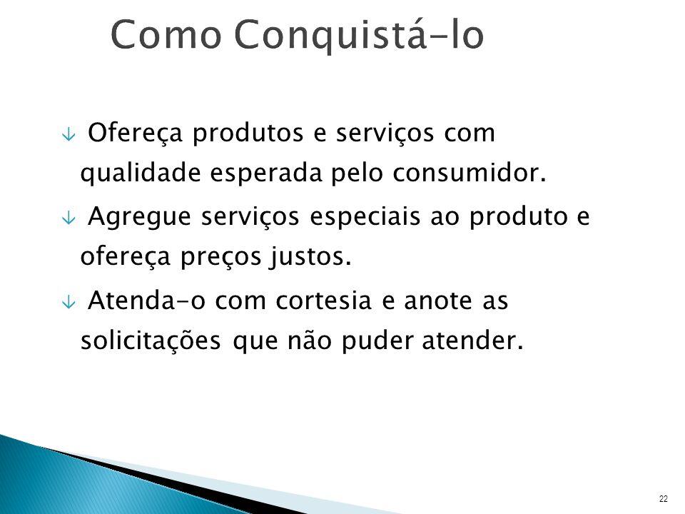Como Conquistá-lo Ofereça produtos e serviços com qualidade esperada pelo consumidor.