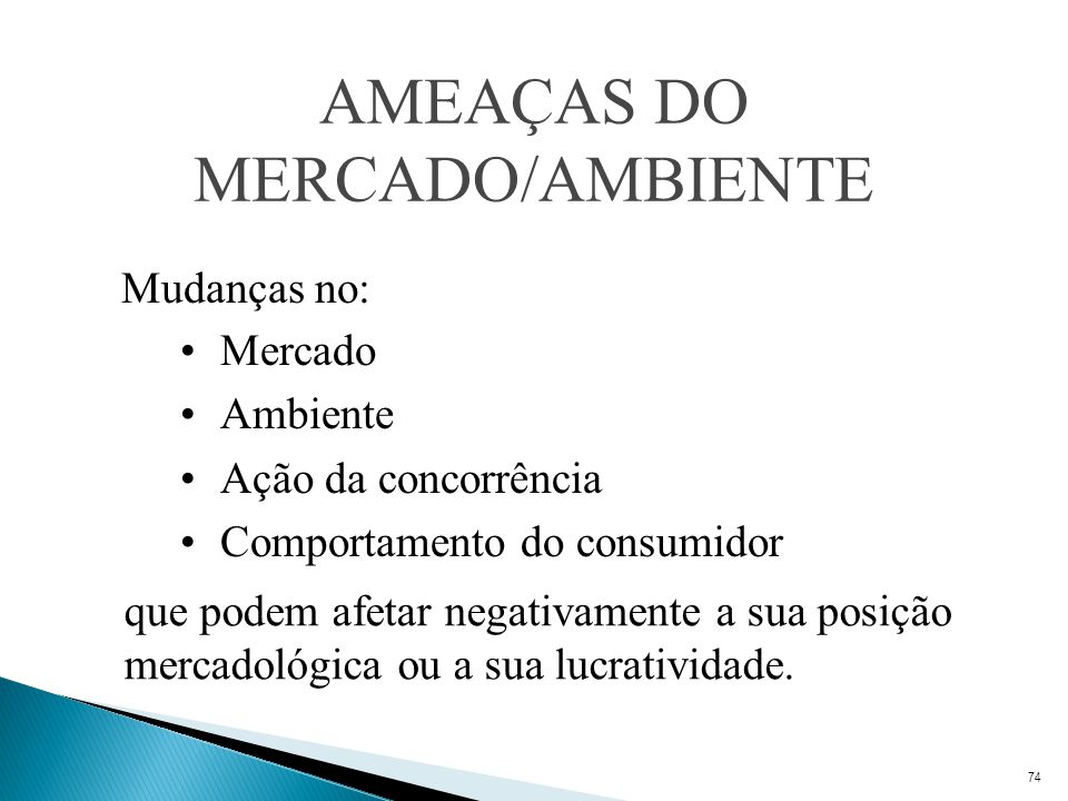 AMEAÇAS DO MERCADO/AMBIENTE