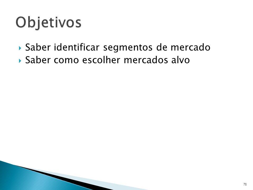 Objetivos Saber identificar segmentos de mercado