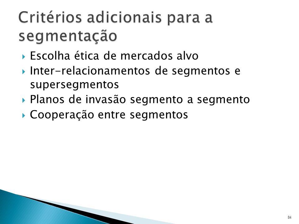Critérios adicionais para a segmentação
