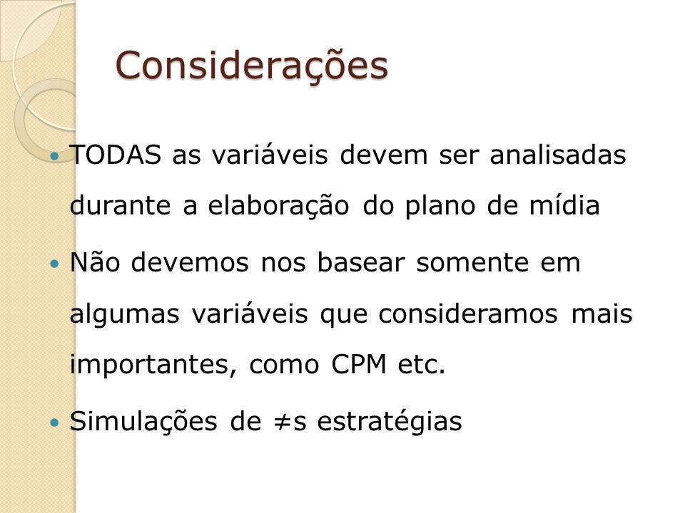 Considerações TODAS as variáveis devem ser analisadas durante a elaboração do plano de mídia.