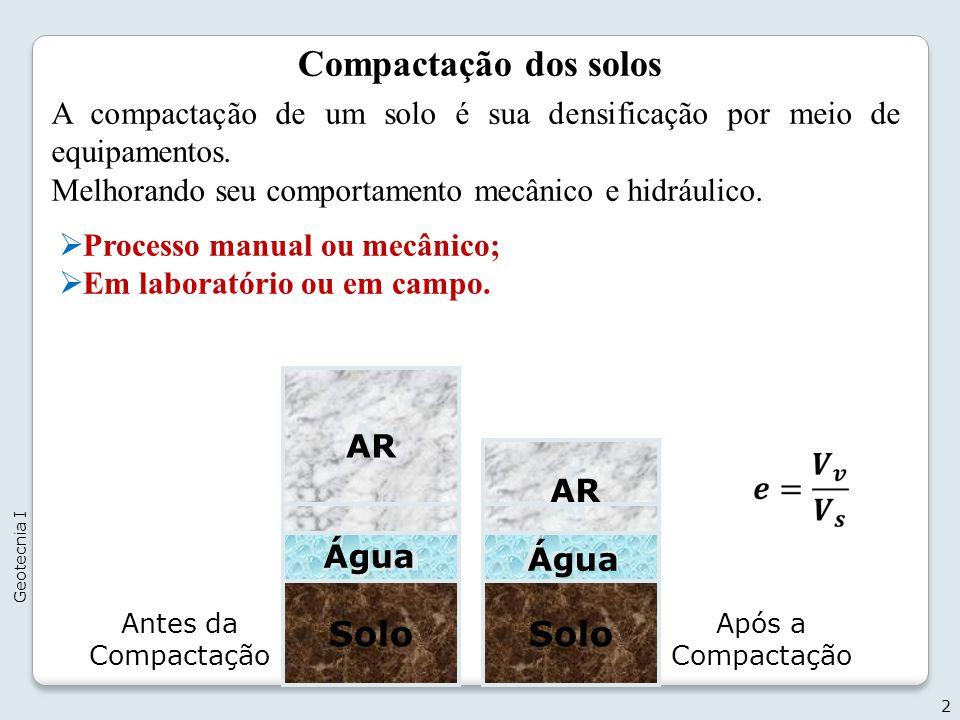 Compactação dos solos Ar Ar r Água Solo