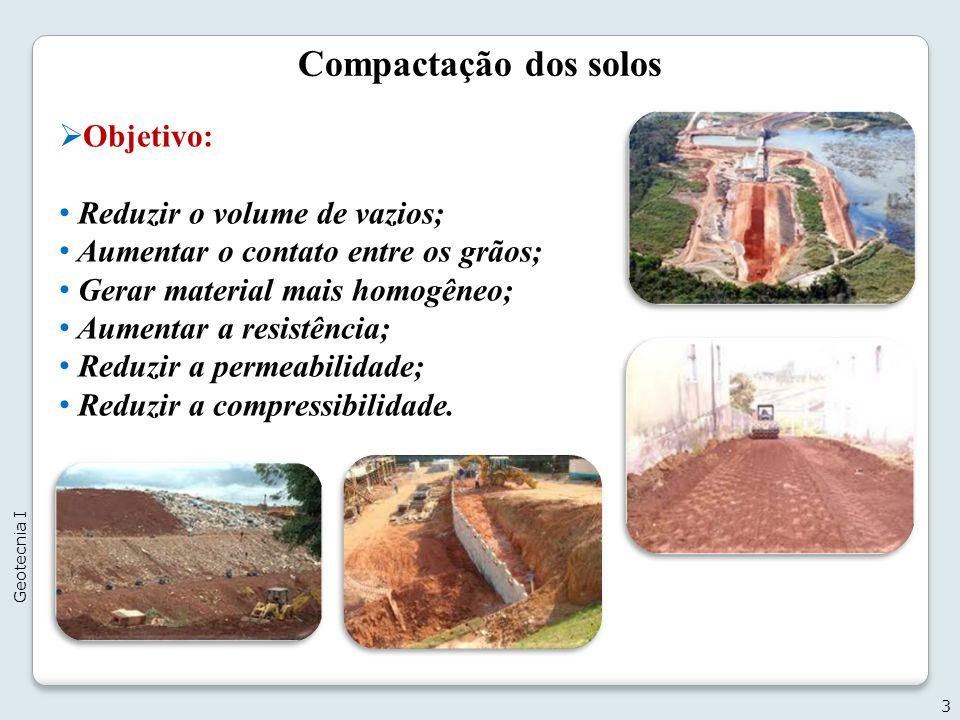 Compactação dos solos Objetivo: Reduzir o volume de vazios;