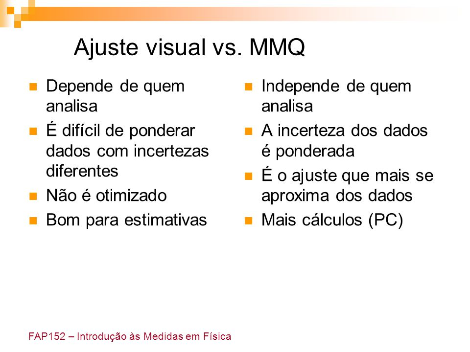 Ajuste visual vs. MMQ Depende de quem analisa