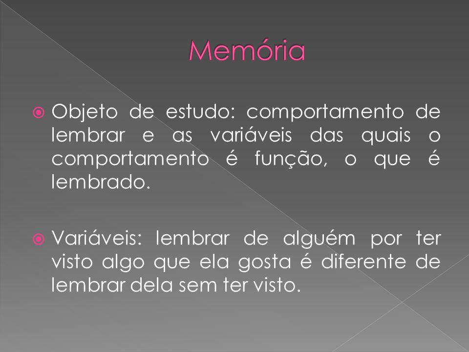 Memória Objeto de estudo: comportamento de lembrar e as variáveis das quais o comportamento é função, o que é lembrado.