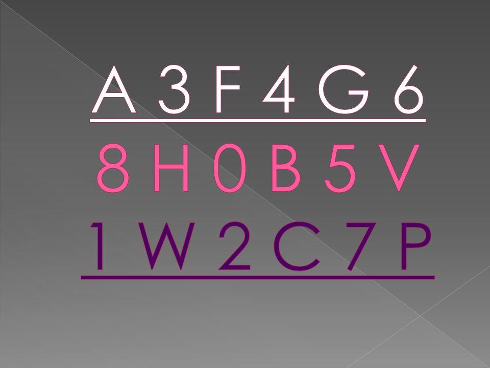 A 3 F 4 G 6 8 H 0 B 5 V 1 W 2 C 7 P