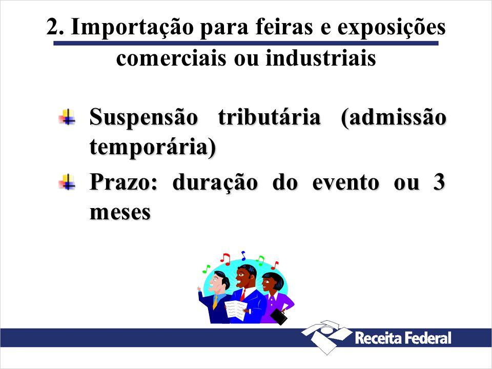 2. Importação para feiras e exposições comerciais ou industriais