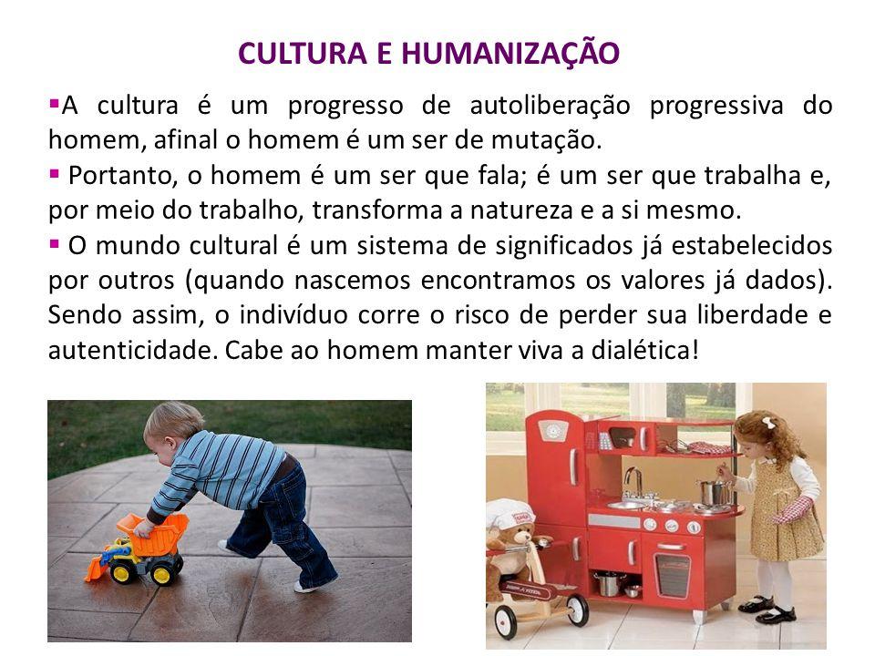 CULTURA E HUMANIZAÇÃO A cultura é um progresso de autoliberação progressiva do homem, afinal o homem é um ser de mutação.