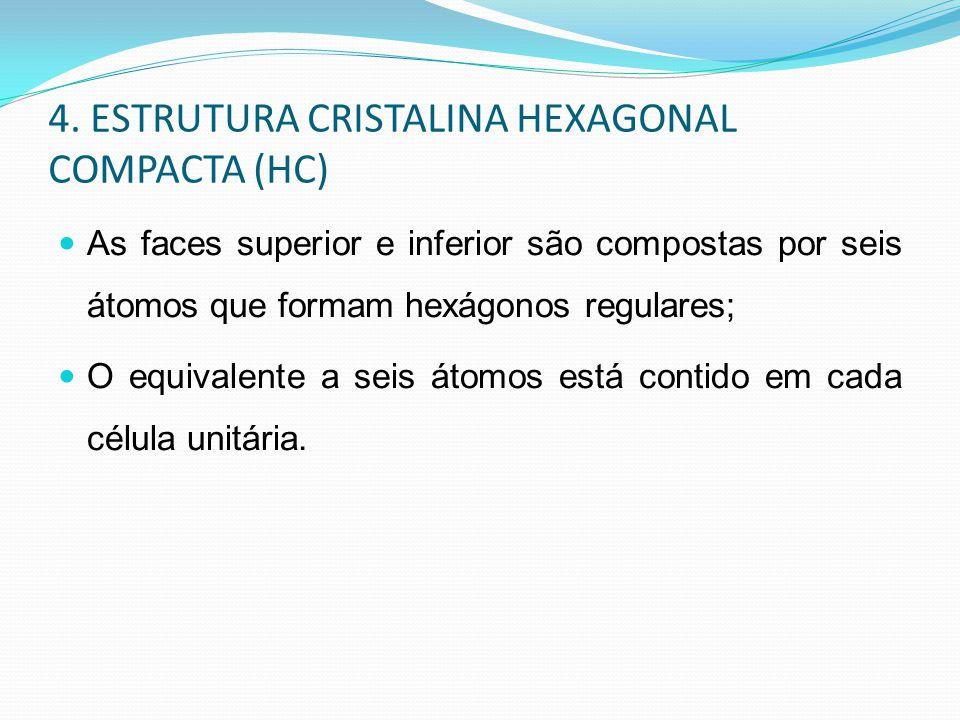 4. ESTRUTURA CRISTALINA HEXAGONAL COMPACTA (HC)