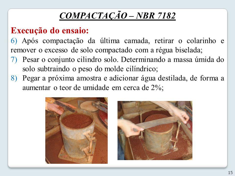 COMPACTAÇÃO – NBR 7182 Execução do ensaio:
