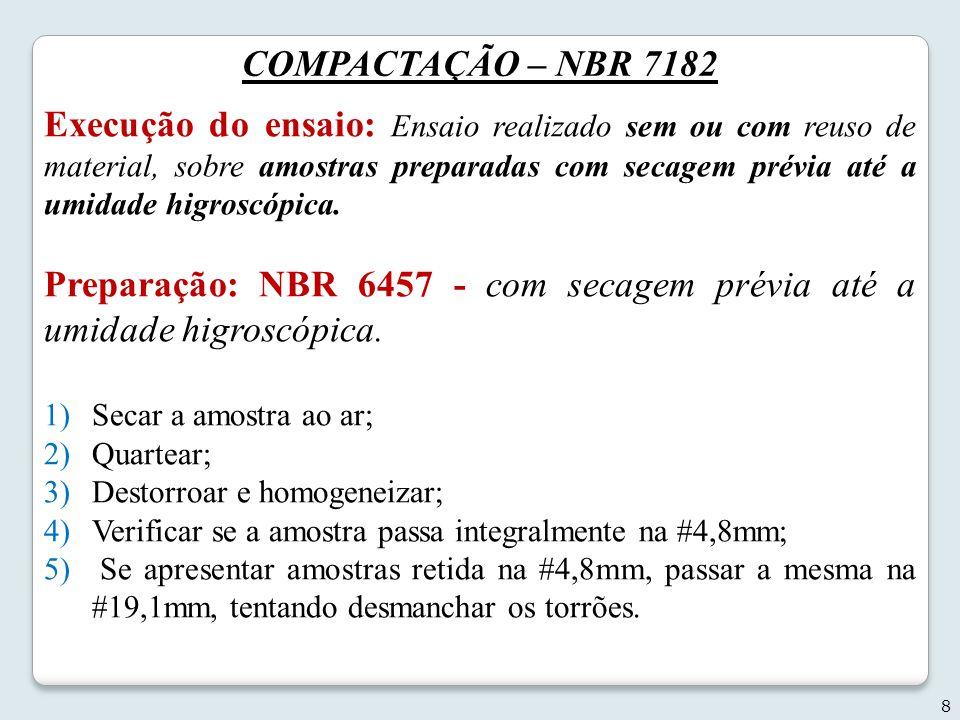 Preparação: NBR 6457 - com secagem prévia até a umidade higroscópica.