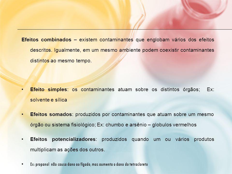 Efeitos combinados – existem contaminantes que englobam vários dos efeitos descritos. Igualmente, em um mesmo ambiente podem coexistir contaminantes distintos ao mesmo tempo.