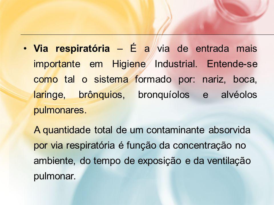Via respiratória – É a via de entrada mais importante em Higiene Industrial. Entende-se como tal o sistema formado por: nariz, boca, laringe, brônquios, bronquíolos e alvéolos pulmonares.