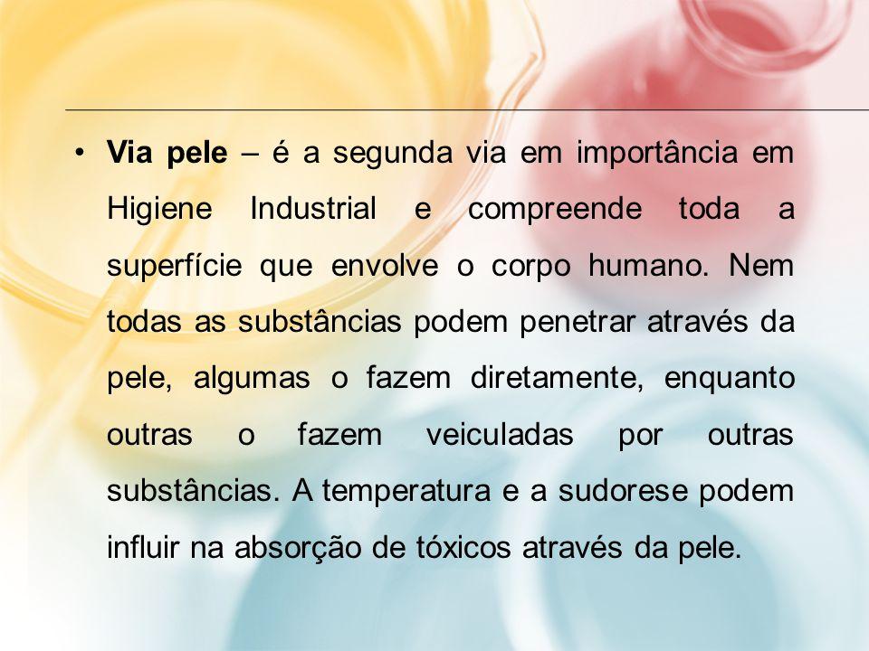 Via pele – é a segunda via em importância em Higiene Industrial e compreende toda a superfície que envolve o corpo humano.