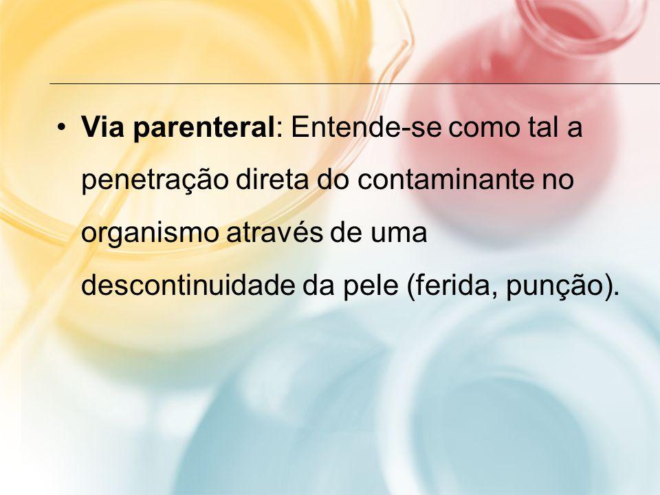 Via parenteral: Entende-se como tal a penetração direta do contaminante no organismo através de uma descontinuidade da pele (ferida, punção).