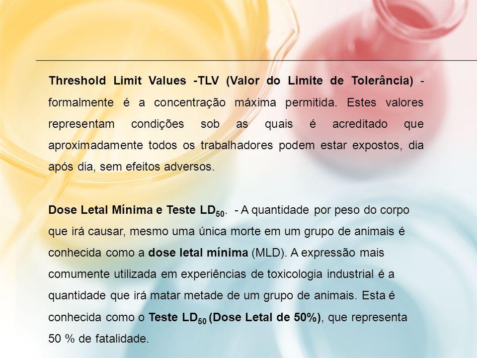 Threshold Limit Values -TLV (Valor do Limite de Tolerância) -formalmente é a concentração máxima permitida. Estes valores representam condições sob as quais é acreditado que aproximadamente todos os trabalhadores podem estar expostos, dia após dia, sem efeitos adversos.