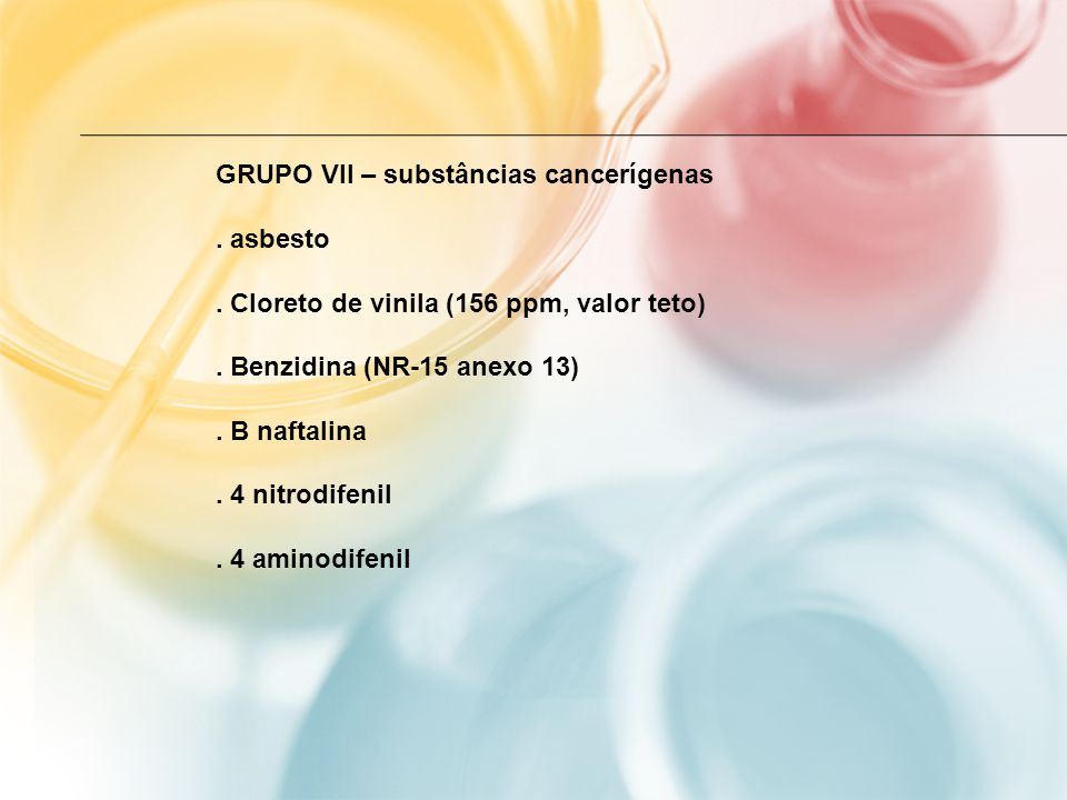 GRUPO VII – substâncias cancerígenas