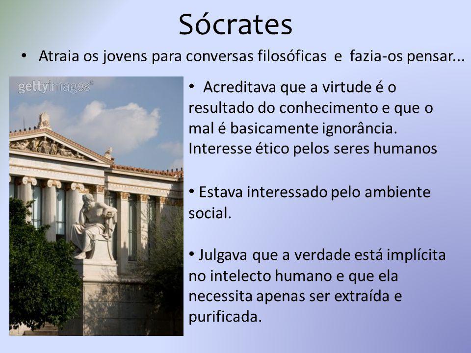 Sócrates Atraia os jovens para conversas filosóficas e fazia-os pensar...