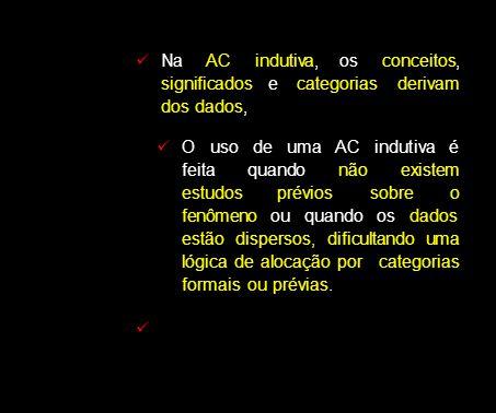 Na AC indutiva, os conceitos, significados e categorias derivam dos dados,
