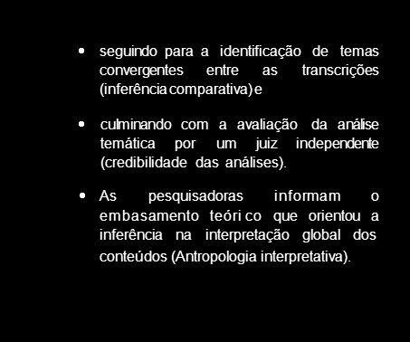 seguindo para a identificação de temas convergentes entre as transcrições (inferência comparativa) e